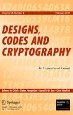 Designs, Codes and Cryptography 2/2011