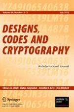 Designs, Codes and Cryptography 1-2/2012