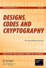 Designs, Codes and Cryptography 1-3/2013