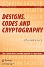 Designs, Codes and Cryptography 1-2/2014