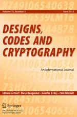 Designs, Codes and Cryptography 3/2015