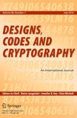 Designs, Codes and Cryptography 1/2016