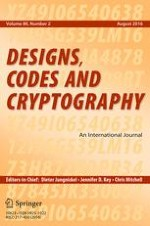 Designs, Codes and Cryptography 2/2016