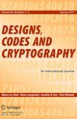 Designs, Codes and Cryptography 1-2/2017