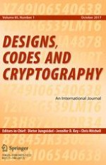 Designs, Codes and Cryptography 1/2017