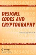 Designs, Codes and Cryptography 10/2018