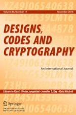 Designs, Codes and Cryptography 11/2018