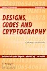 Designs, Codes and Cryptography 12/2019