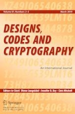 Designs, Codes and Cryptography 2-3/2019