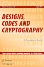 Designs, Codes and Cryptography 4/2019