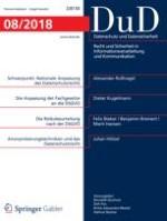 Datenschutz und Datensicherheit - DuD 8/2018