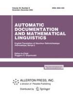 Automatic Documentation and Mathematical Linguistics 6/2009