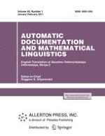 Automatic Documentation and Mathematical Linguistics 1/2011