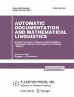 Automatic Documentation and Mathematical Linguistics 1/2014