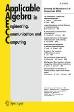 Applicable Algebra in Engineering, Communication and Computing 5-6/2009