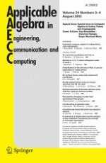 Applicable Algebra in Engineering, Communication and Computing 3-4/2013