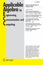 Applicable Algebra in Engineering, Communication and Computing 4/2014