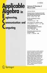 Applicable Algebra in Engineering, Communication and Computing 2/2016