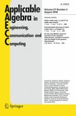 Applicable Algebra in Engineering, Communication and Computing 4/2016