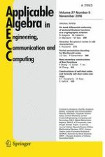 Applicable Algebra in Engineering, Communication and Computing 5/2016
