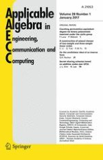 Applicable Algebra in Engineering, Communication and Computing 1/2017