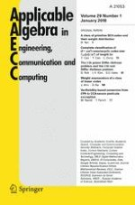 Applicable Algebra in Engineering, Communication and Computing 1/2018