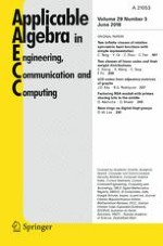 Applicable Algebra in Engineering, Communication and Computing 3/2018