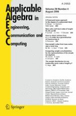 Applicable Algebra in Engineering, Communication and Computing 4/2018
