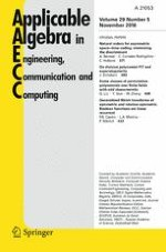 Applicable Algebra in Engineering, Communication and Computing 5/2018
