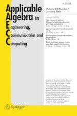 Applicable Algebra in Engineering, Communication and Computing 1/2019