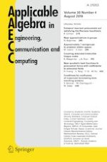 Applicable Algebra in Engineering, Communication and Computing 4/2019