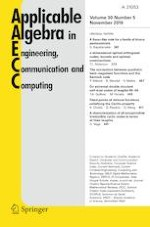 Applicable Algebra in Engineering, Communication and Computing 5/2019
