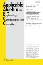 Applicable Algebra in Engineering, Communication and Computing 6/2019