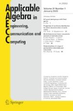 Applicable Algebra in Engineering, Communication and Computing 1/2020