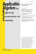Applicable Algebra in Engineering, Communication and Computing 2/2020