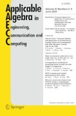Applicable Algebra in Engineering, Communication and Computing 3-4/2020