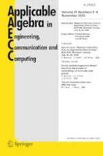 Applicable Algebra in Engineering, Communication and Computing 5-6/2020