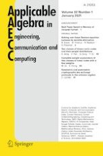 Applicable Algebra in Engineering, Communication and Computing 1/2021