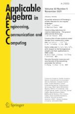 Applicable Algebra in Engineering, Communication and Computing 5/2021