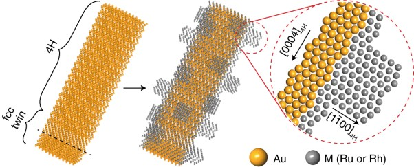 Crystal phase-based epitaxial growth of hybrid noble metal nanostructures on 4H/fcc Au nanowires