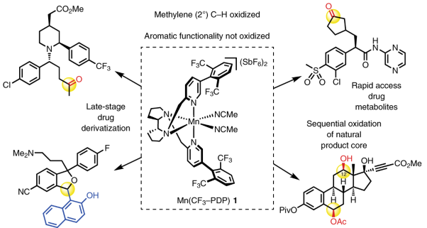 Chemoselective methylene oxidation in aromatic molecules