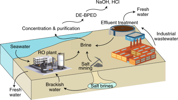 Direct electrosynthesis of sodium hydroxide and hydrochloric acid from brine streams