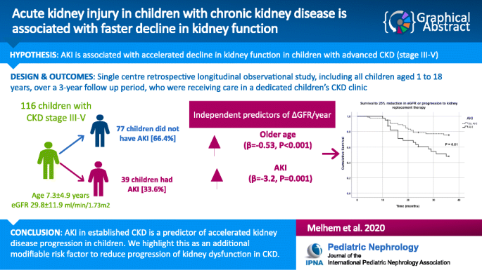 Acute Kidney Injury In Children With Chronic Kidney Disease Is Associated With Faster Decline In Kidney Function Springerlink