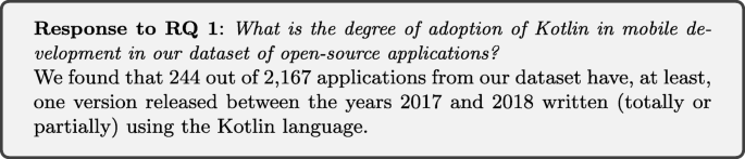 An Empirical Study On Quality Of Android Applications Written In Kotlin Language Springerlink