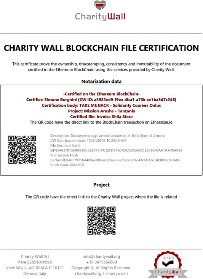 Managing charity 4.0 with Blockchain: a case study at the time of ...