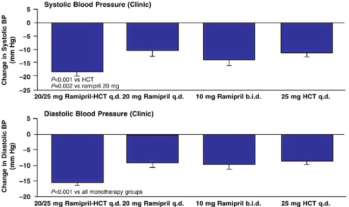 Utility of semiautomatic clinic and 24-h ambulatory blood pressure  measurements to evaluate combination therapy: the  Ramipril–Hydrochlorothiazide Hypertension Trial   Journal of Human  Hypertension