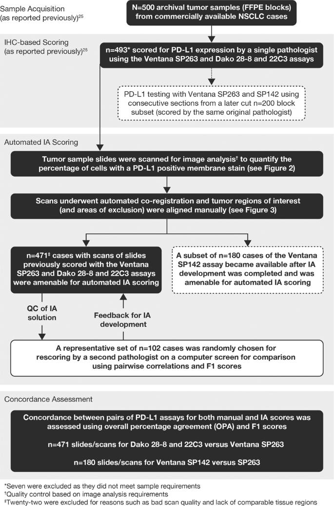 Comparison of continuous measures across diagnostic PD-L1 assays in no