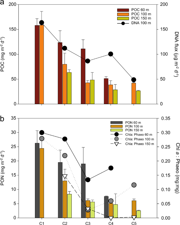 a poc and dna fluxes in standard fixed-sediment traps  b pon fluxes and  chlorophyll to phaeopigments ratio in the traps  error bars represent the  standard