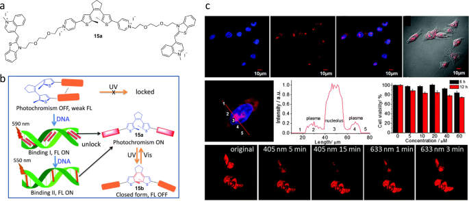 Photochromic fluorophores at the molecular and nanoparticle