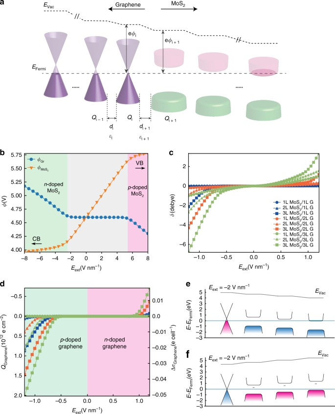 Asymmetric electric field screening in van der Waals